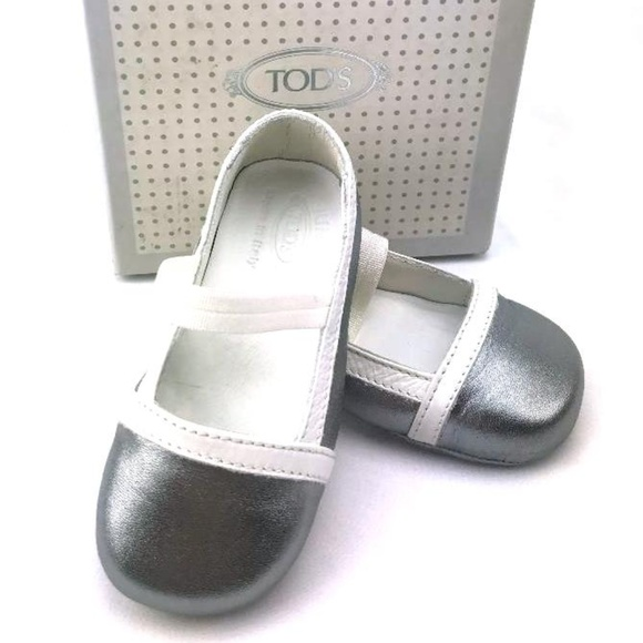 Tod's Baby Other - TOD'S BABY Italian Leather Ballerinas in Silver wi